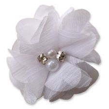 5cm Pearl Diamante WHITE Fabric Flower Applique